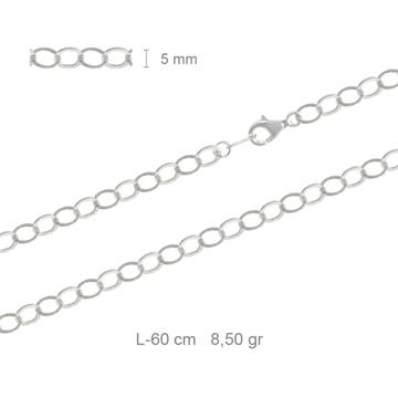 Foto de Cadena de plata redonda picada 60cm
