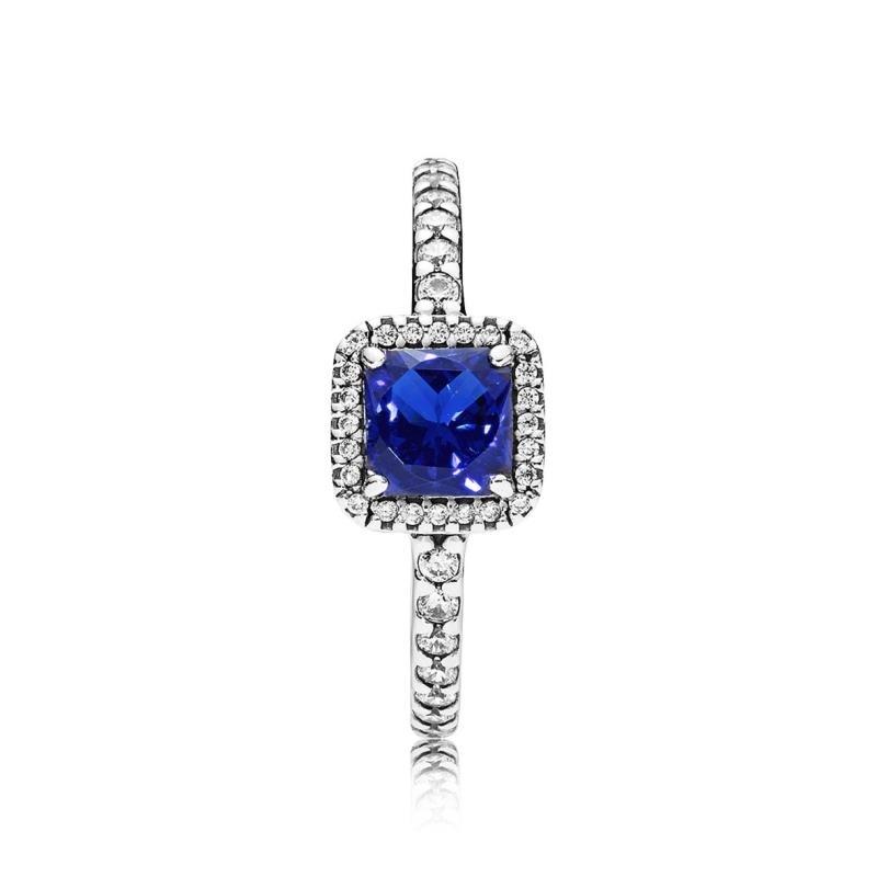 anillo pandora circonita azul