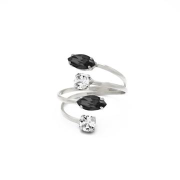 Anillo cristal Swarovski blanco y negro