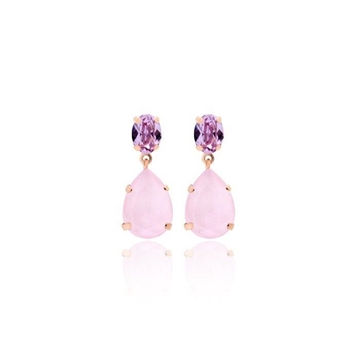 Foto de Pendientes doble oval violeta rose powder