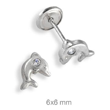 Pendientes de plata con forma de delfin cierre dormilon