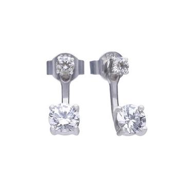 Pendientes DIAMONFIRE ear cuff dobles con circonita 6219691082