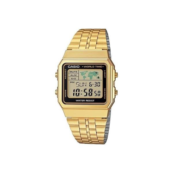 Reloj CASIO digital dorado hora mundial