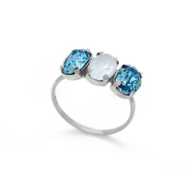 Anillo plata ajustable Swarovski azul