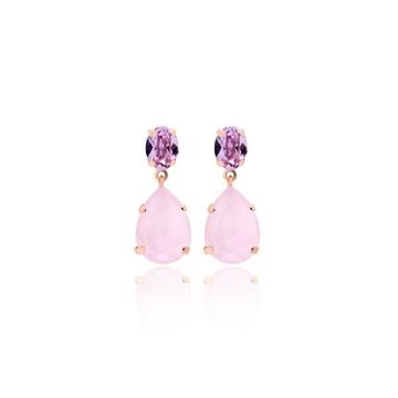 Foto de Pendientes doble oval violeta rose powder