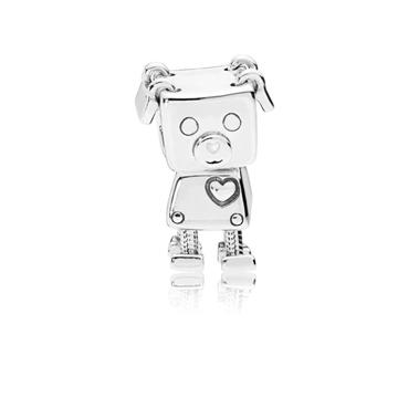 Foto de Charm PANDORA Perro Robot en Plata Ley.