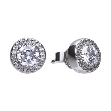 Pendientes DIAMONFIRE plata redondos 6214671082