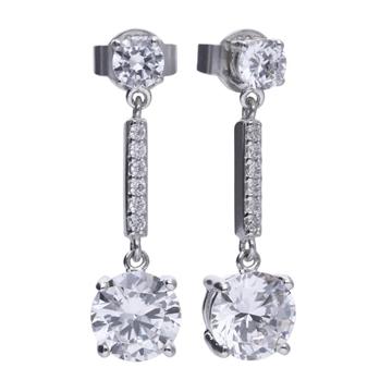 Pendientes DIAMONFIRE de plata largos con circconitas 6210141082