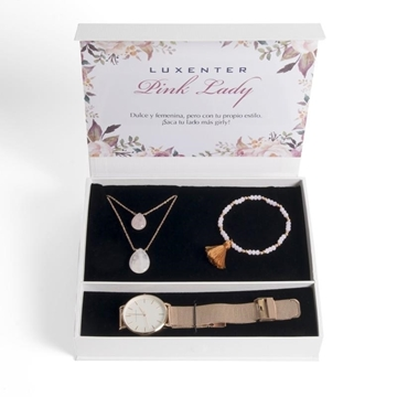 Set de regalo LUXENTER de reloj pulsera y collar