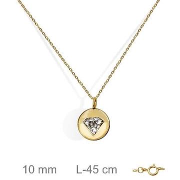 Gargantilla de oro con diamante