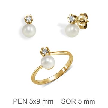 Aderezo de comunion de oro con perla