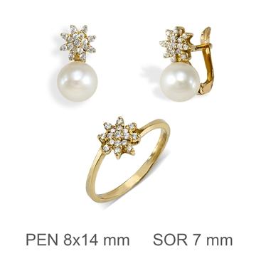 Aderezo de oro perla y circonitas