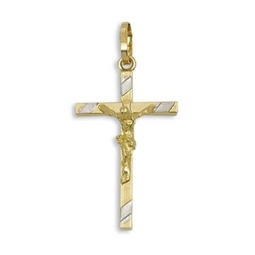 Cruz de oro con Cristo bicolor