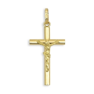 Cruz de oro tubo lisa con Cristo