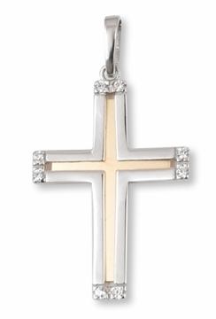 Cruz de oro bicolor con circonitas