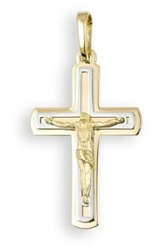 Foto de Cruz de oro con Cristo bicolor pequeña