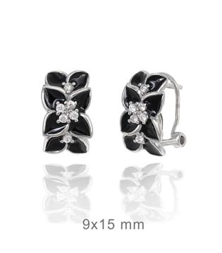 Foto de Pendientes de plata flor negra cierre omega