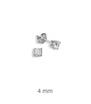 Foto de Pendientes de plata circonita garras 4mm