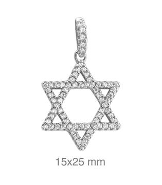 Foto de Colgante de plata estrella de David con circonitas