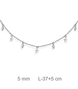 Foto de Gargantilla de plata perlas estrellas