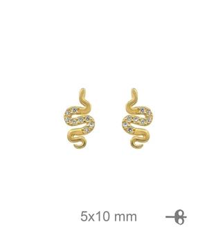 Foto de Pendientes de plata baño de oro serpiente