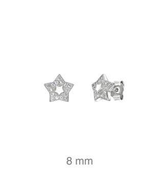 Foto de Pendientes de plata estrella circonitas