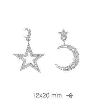 Foto de Pendientes de plata luna estrella