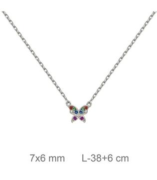 Foto de Gargantilla de plata mariposa con color