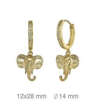 Foto de Criolla de plata con baño de oro y elefante con circonitas