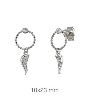 Foto de Pendientes de plata ala con circonitas