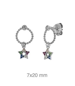 Foto de Pendientes de plata con estrella de color y presión