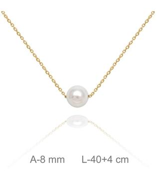 Foto de Gargantilla de plata con perla y baño de oro